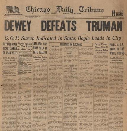Memorable headlines: Dewey defeats Truman – The Editor's Desk