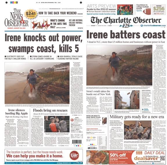 Front pages for NC papers covering Hurricane Irene