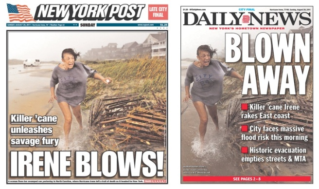 New York tabloid front pages on Irene