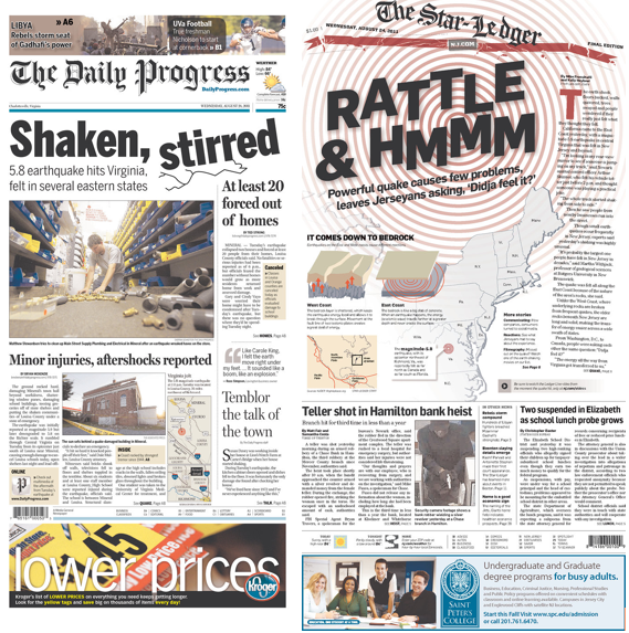 Front pages from East Coast quake