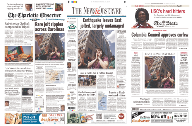 Earthquake front pages