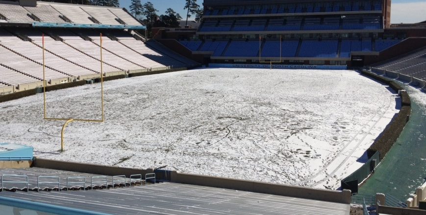 Snow covered the field at Kenan Stadium in Chapel Hill, N.C., in January 2014. Was that work of winter storm Leon?