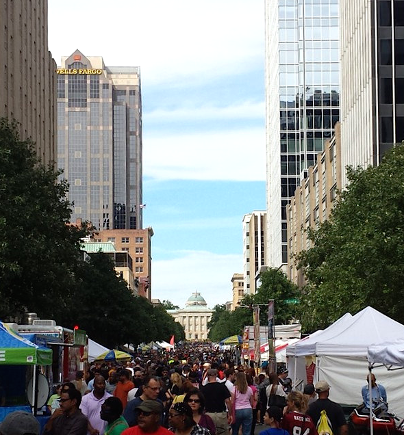 Fayetteville Street in downtown Raleigh. (Photo by Leo Suarez)