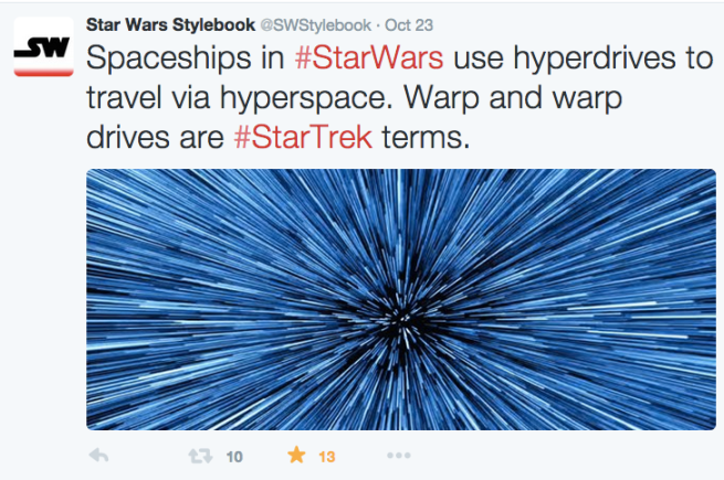 A tweet from the fan-created Star Wars Stylebook explains the difference between hyperdrive and warpdrive.