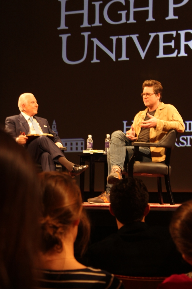 Twitter co-founder Biz Stone, right, answers questions at a recent talk at High Point University.