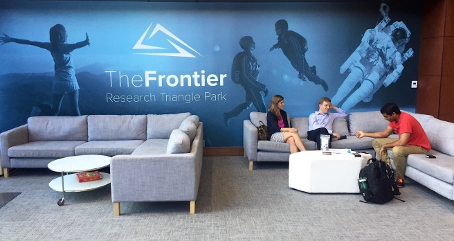 The N.C. Newsroom Cooperative is part of The Frontier, a co-working space in Research Triangle Park.